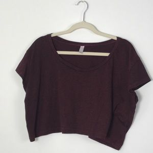 American Apparel Boxy Crop Top Heathered Burgundy